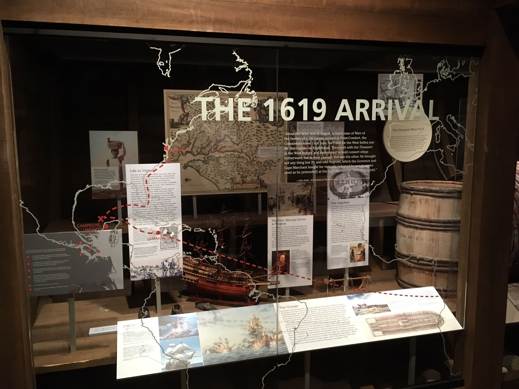 Photo of the 1619 Arrival Exhibit