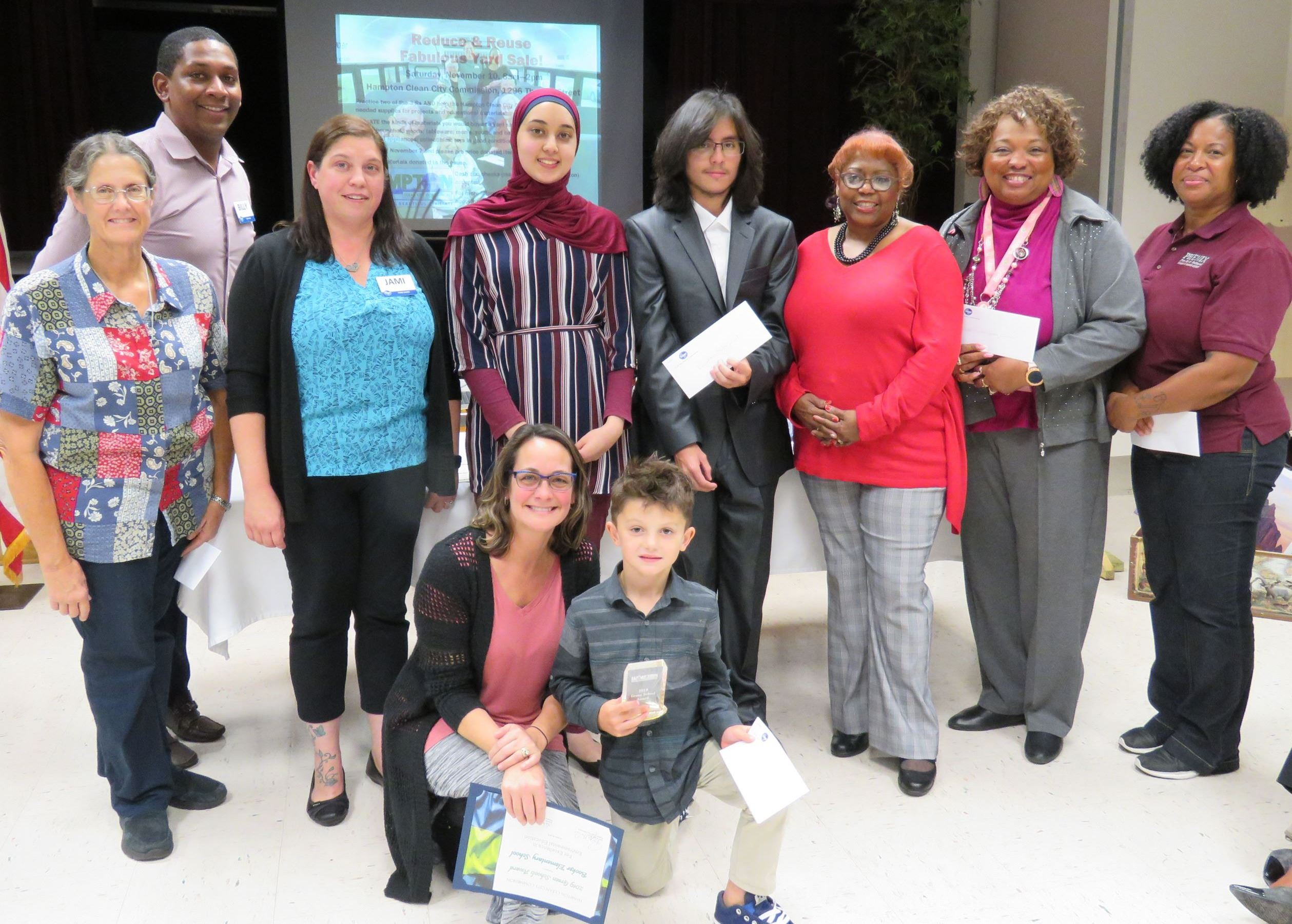 Four of the five schools that won the Kroger Plastic Bag Recycling Challenge are pictured