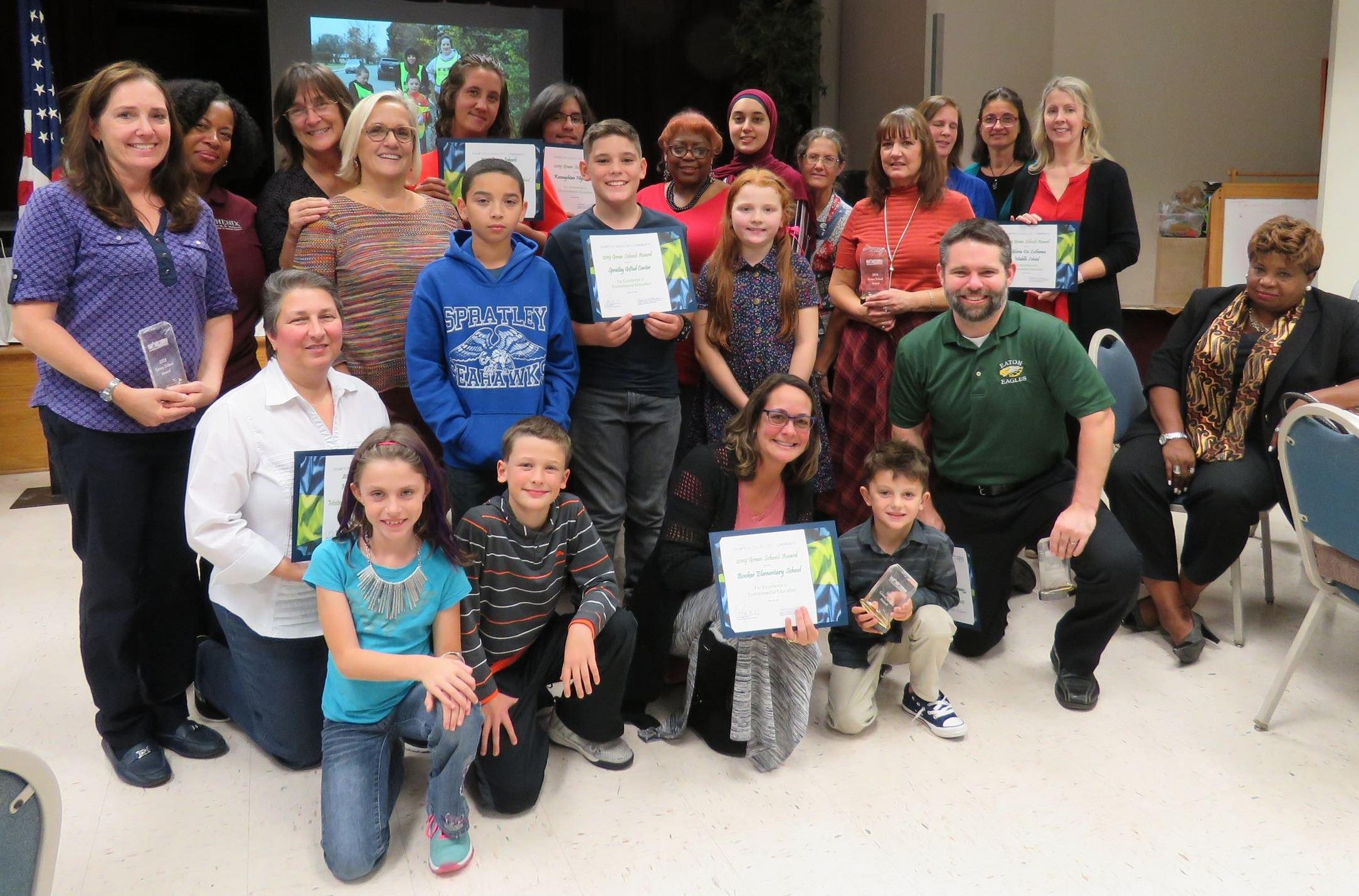 Representatives of schools that received Green School Awards or Honorable Mention Awards
