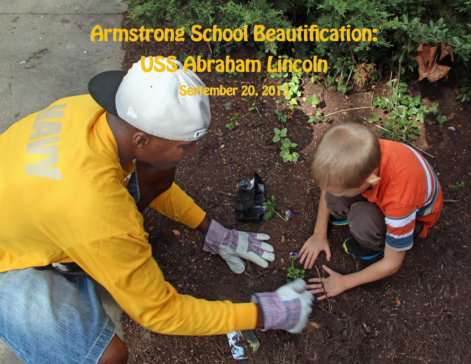 9-20-13 Armstrong Beautification Kid Planting